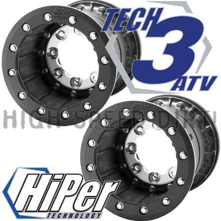 "Hiper Tech 3 Dual Beadlock 10/"" Front 4+1 10/"" Rear Wheels Rims YFZ Banshee Raptor"