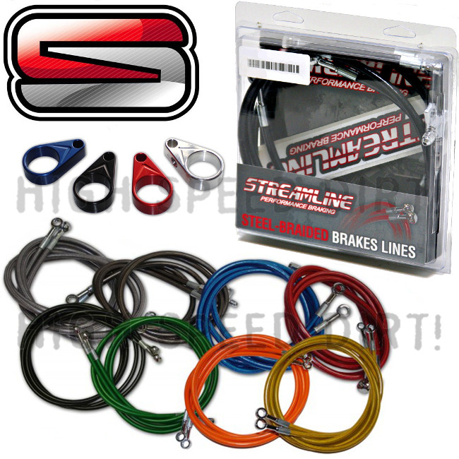 "STREAMLINE 2/"" BLUE EXTENDED REAR STEEL BRAIDED BRAKE LINE YAMAHA RAPTOR 350"