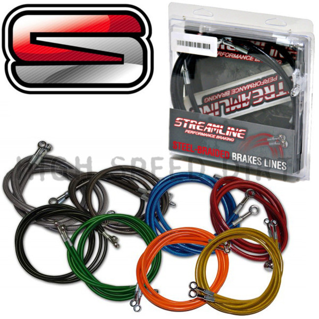 "4/"" RED EXTENDED REAR STEEL BRAIDED BRAKE LINE YAMAHA WARRIOR 350 STREAMLINE"