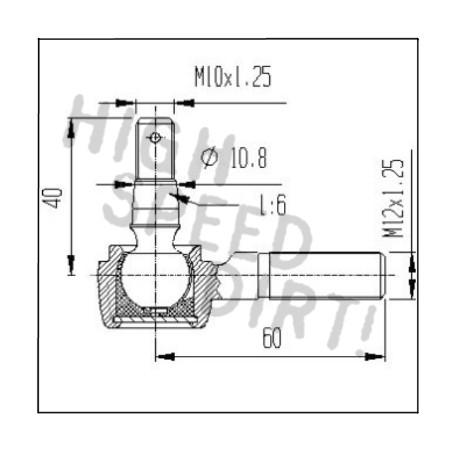 Yamaha Blaster HD 12mm Tie Rod End Drawing